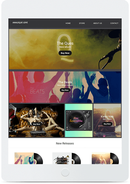 Website builder Record Store responsive template