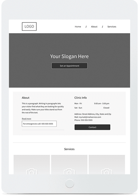 Website builder Blank Services responsive template