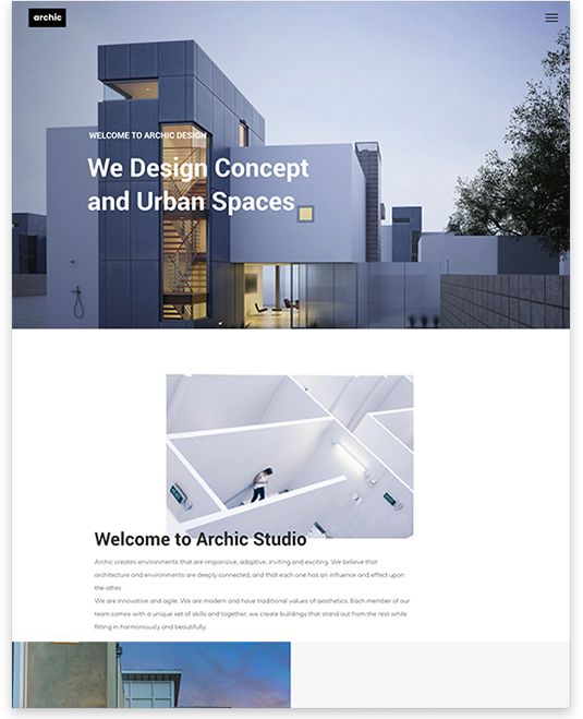 Website builder Architect responsive template