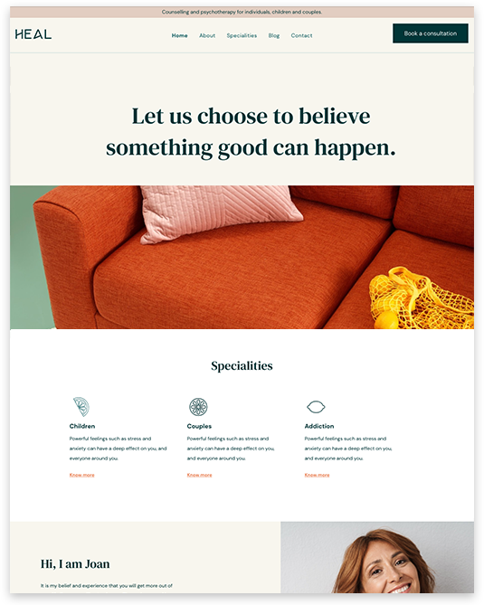 Website builder Therapeut responsive template
